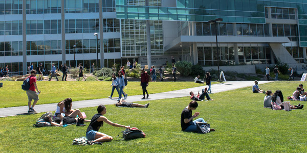 Students on lawn in front of library